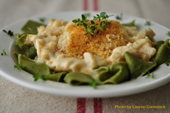 Pemaquid Lobster & Seafood Scallop Casserole Over Pasta